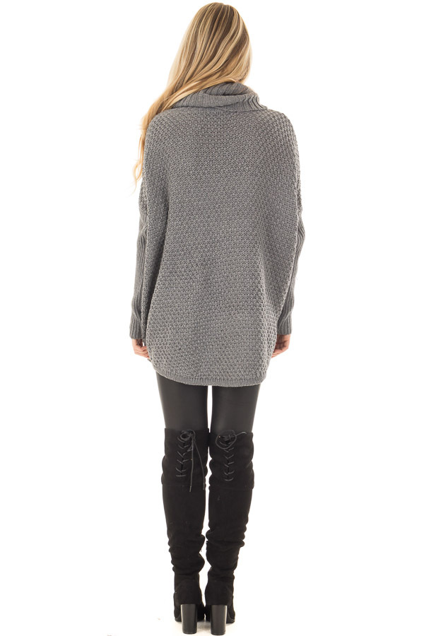 Charcoal Thick Sweater Cowl Neck Top with Long Sleeve Detail back full body