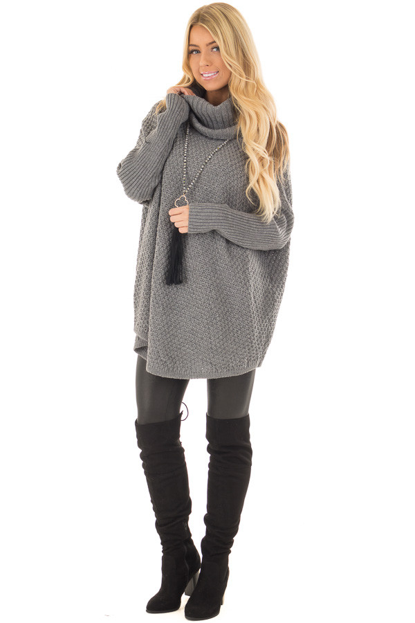Charcoal Thick Sweater Cowl Neck Top with Long Sleeve Detail front full body