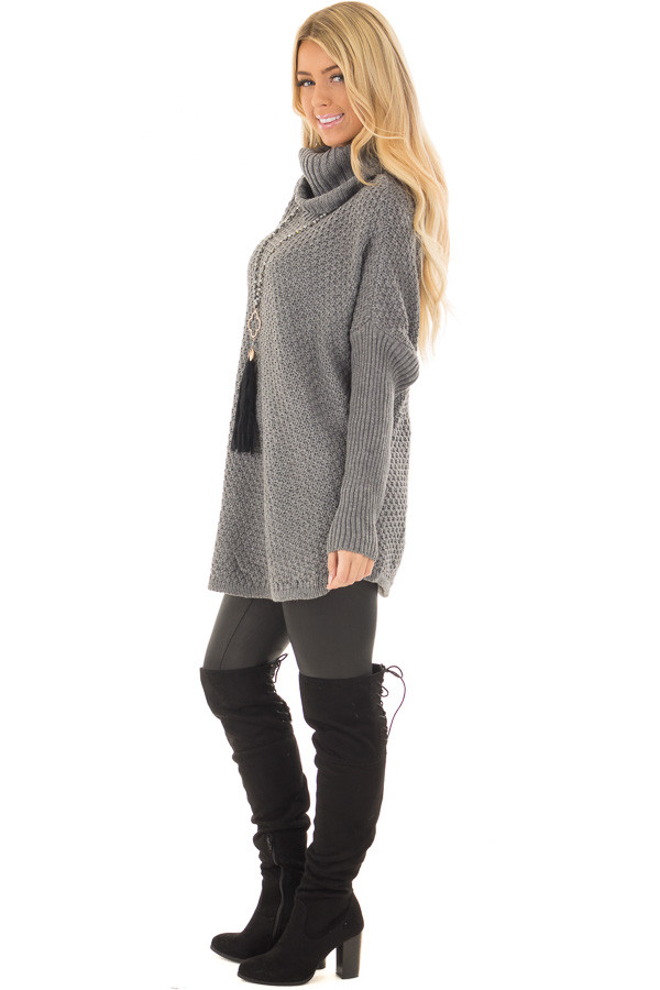 Charcoal Thick Sweater Cowl Neck Top with Long Sleeve Detail side full body