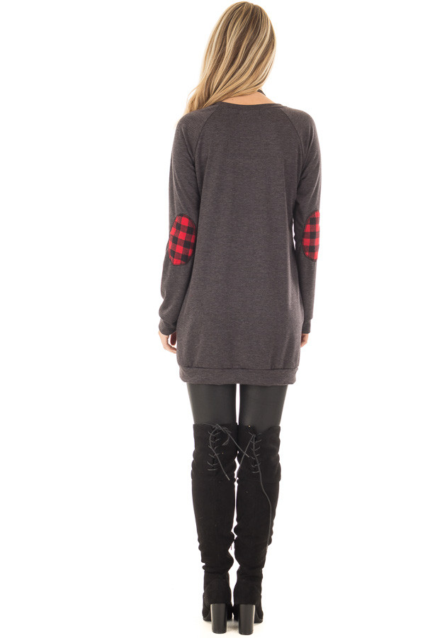 Charcoal Long Sleeve Tunic with Red Plaid Details back full body