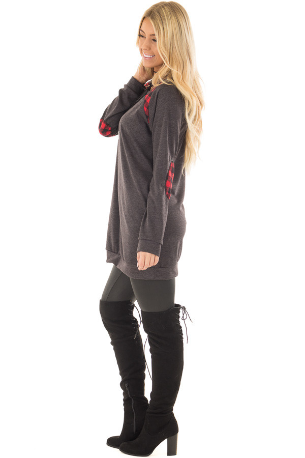 Charcoal Long Sleeve Tunic with Red Plaid Details side full body