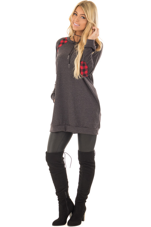 Charcoal Long Sleeve Tunic with Red Plaid Details front full body