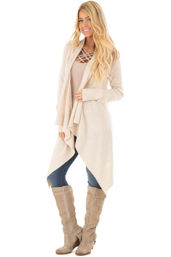 Cream Long Sleeve Open Flowy Cardigan - Lime Lush Boutique