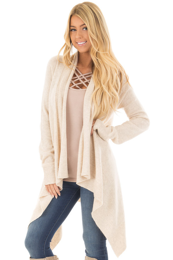 Cream Long Sleeve Open Flowy Cardigan front closeup