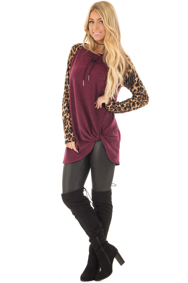 Burgundy Knot Detail with Leopard Raglan Sleeves front full body
