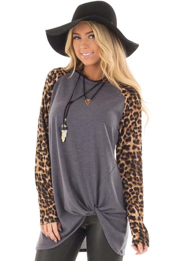 Charcoal Knot Detail with Leopard Raglan Sleeves front closeup