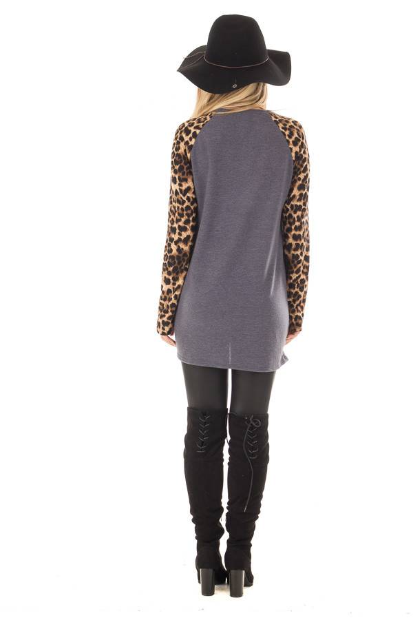 Charcoal Knot Detail with Leopard Raglan Sleeves back full body