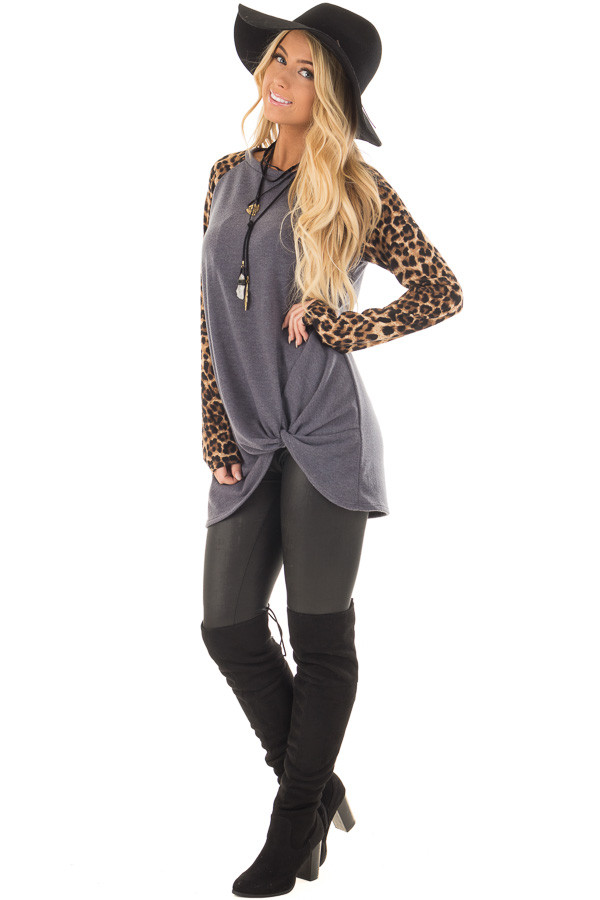 Charcoal Knot Detail with Leopard Raglan Sleeves front full body