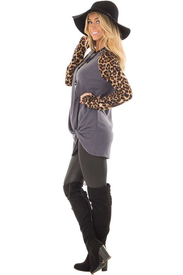 Charcoal Knot Detail with Leopard Raglan Sleeves side full body
