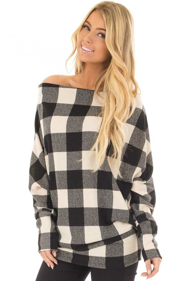 Black and Ivory Plaid Boat Neck Dolman Sleeve Top front closeup