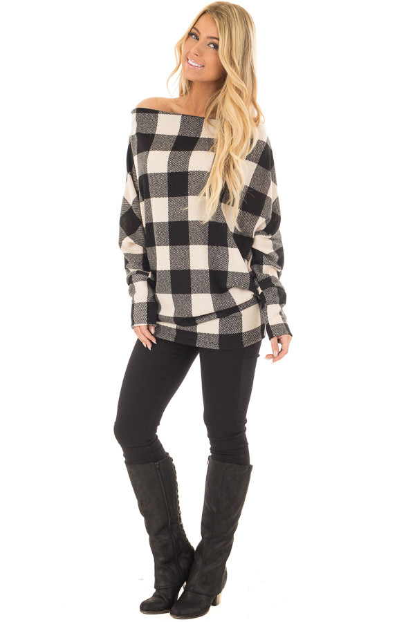 Black and Ivory Plaid Boat Neck Dolman Sleeve Top front full body