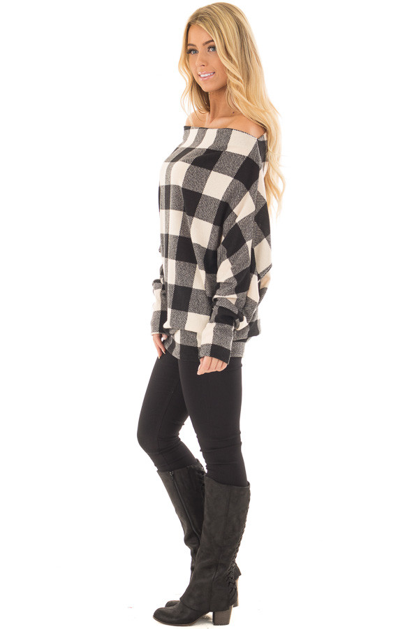 Black and Ivory Plaid Boat Neck Dolman Sleeve Top side full body