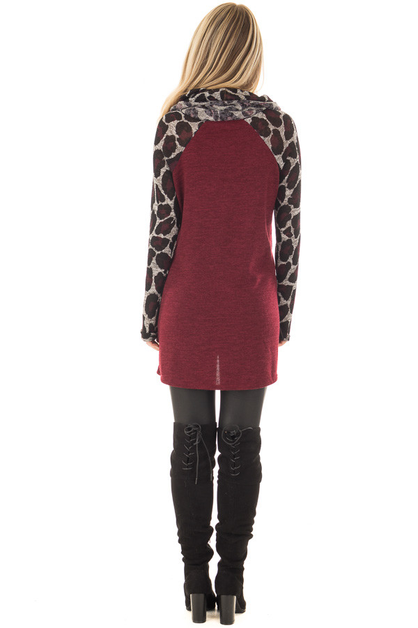 Burgundy Cowl Neck Tunic Top with Leopard Raglan Sleeves back full body