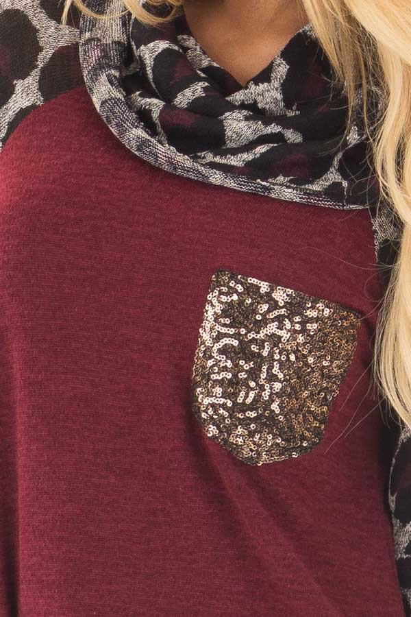 Burgundy Cowl Neck Tunic Top with Leopard Raglan Sleeves front detail