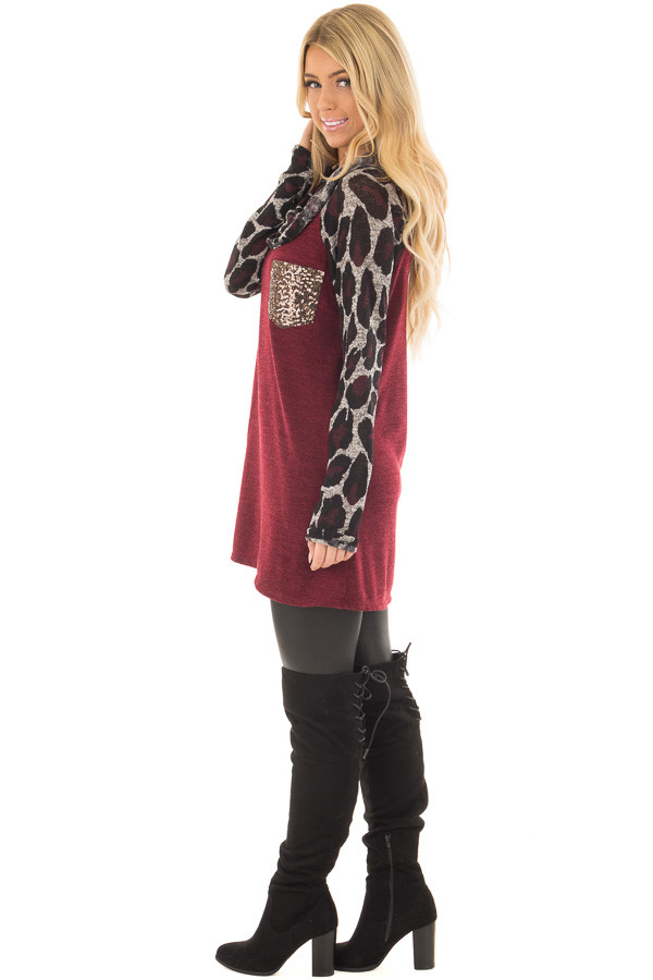 Burgundy Cowl Neck Tunic Top with Leopard Raglan Sleeves side  full body