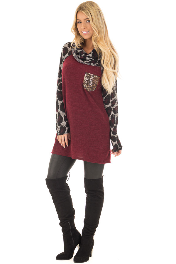 Burgundy Cowl Neck Tunic Top with Leopard Raglan Sleeves front full body