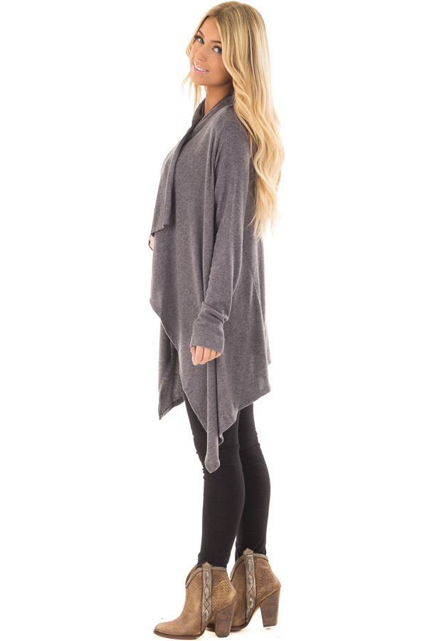 Charcoal Draped Knit Cardigan with Button Detail side full body