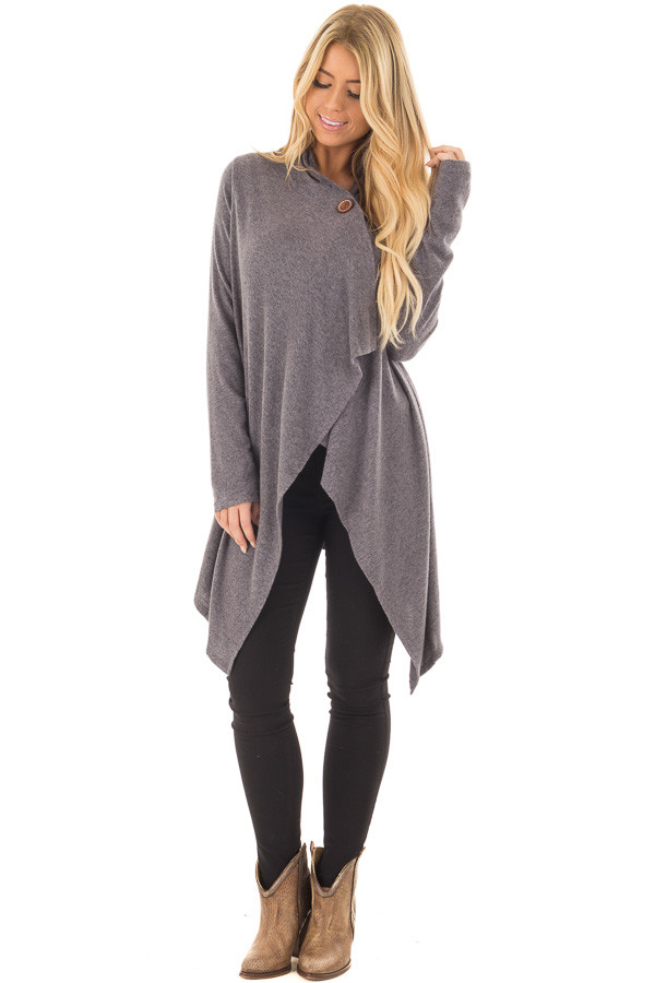 Charcoal Draped Knit Cardigan with Button Detail front full body