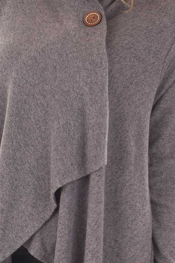 Charcoal Draped Knit Cardigan with Button Detail front detail