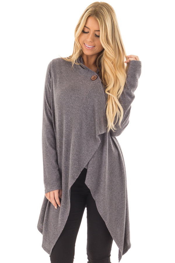 Charcoal Draped Knit Cardigan with Button Detail front closeup
