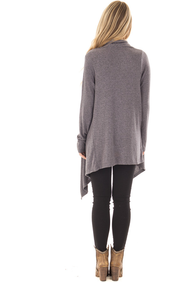 Charcoal Draped Knit Cardigan with Button Detail back full body