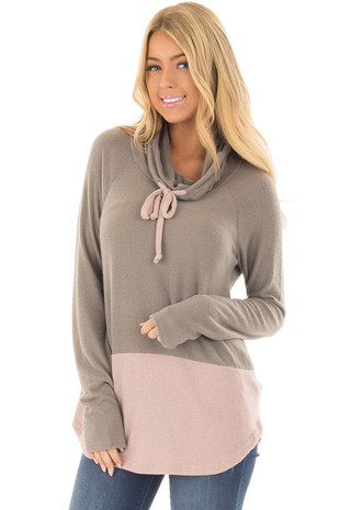 Olive Cowl Neck Blush Color Block Top front closeup