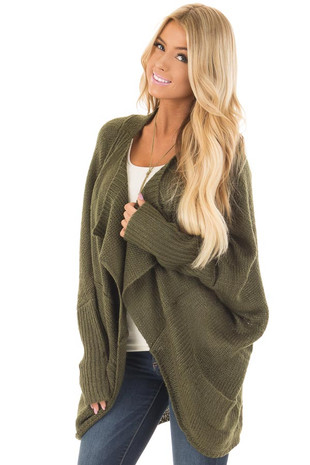 Olive Knit Cardigan with Dolman Sleeves and Pockets front close up