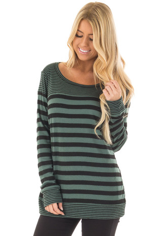 Teal and Black Striped Long Sleeve Top front closeup