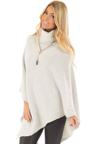 Ivory Two Tone Turtle Neck Poncho front closeup