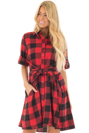 Red Plaid Short Sleeve Button Up Collared Dress front closeup