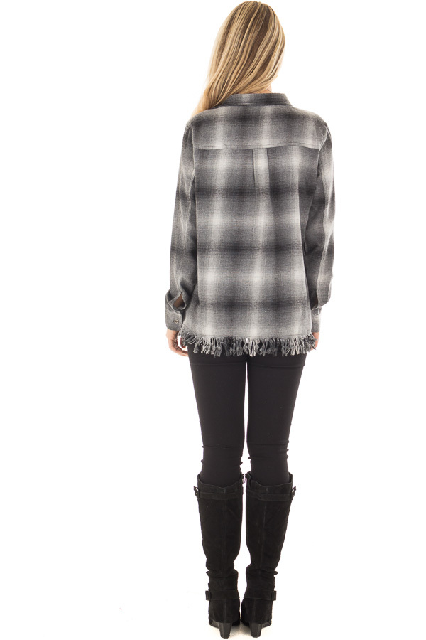 Charcoal Plaid Button Up Collard Top with Fringed Hemline back full body