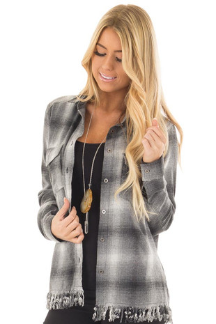 Charcoal Plaid Button Up Collard Top with Fringed Hemline front closeup