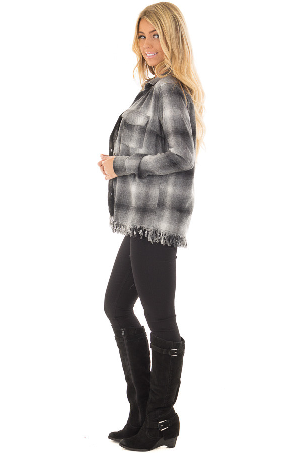 Charcoal Plaid Button Up Collard Top with Fringed Hemline side full body