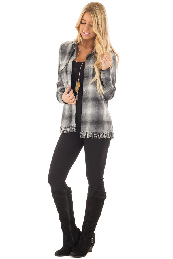 Charcoal Plaid Button Up Collard Top with Fringed Hemline front full body