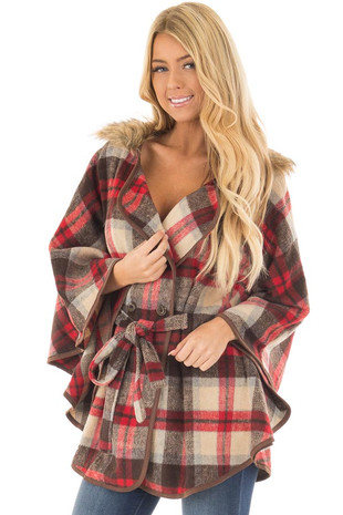 Taupe and Red Plaid Wing Sleeve Jacket with Faux Fur front closeup