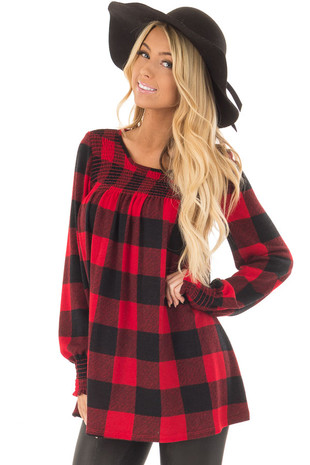 Red and Black Plaid Smocked Top with Cuffed Sleeves front closeup