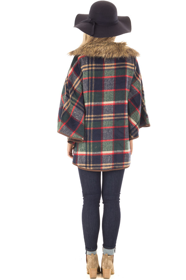 Green and Red Plaid Wing Sleeve Jacket with Faux Fur back full body