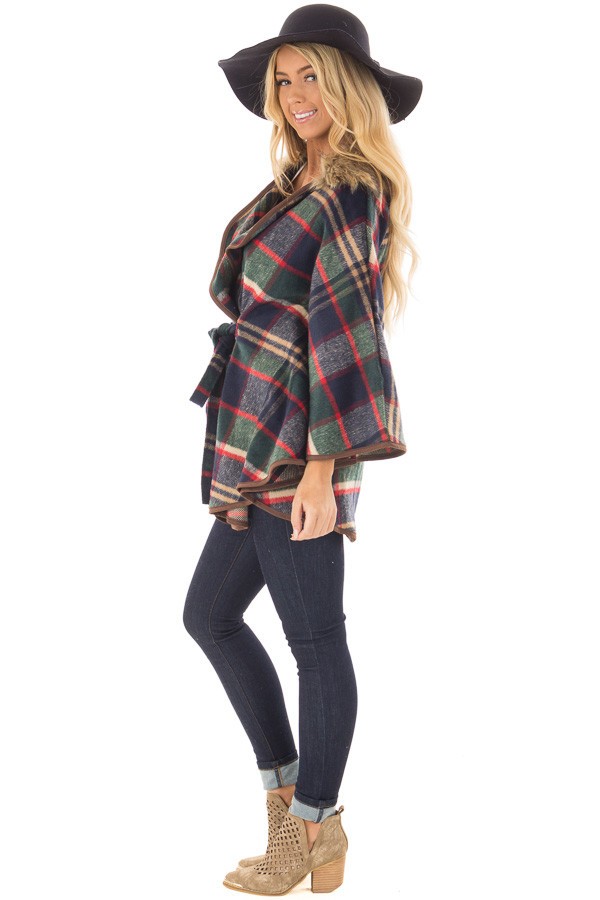 Green and Red Plaid Wing Sleeve Jacket with Faux Fur side full body