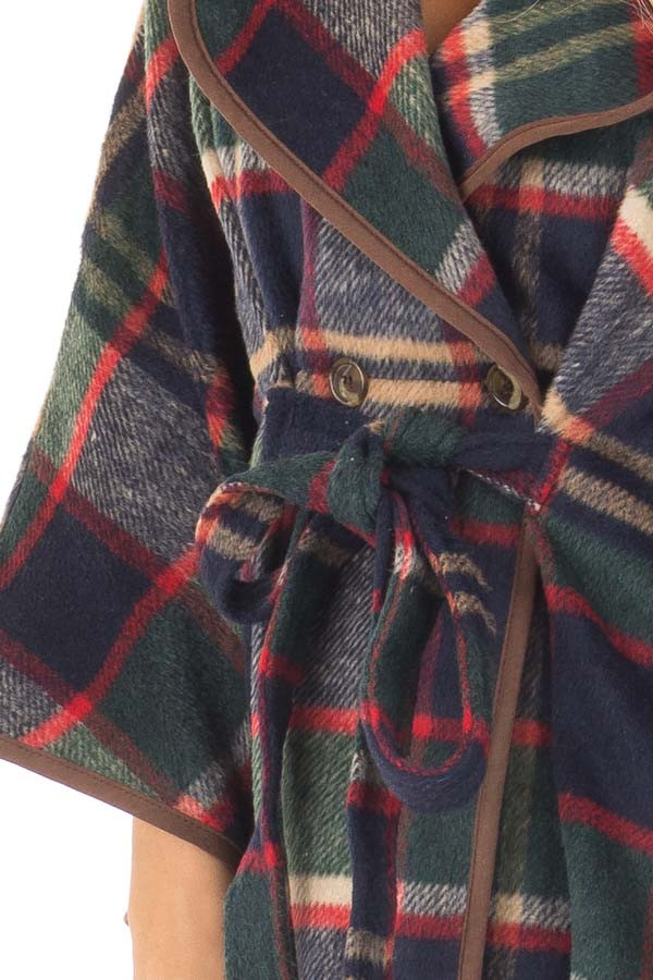 Green and Red Plaid Wing Sleeve Jacket with Faux Fur front detail