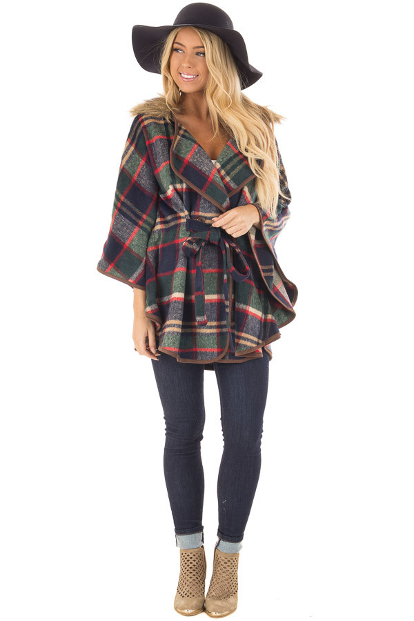 Green and Red Plaid Wing Sleeve Jacket with Faux Fur front full body