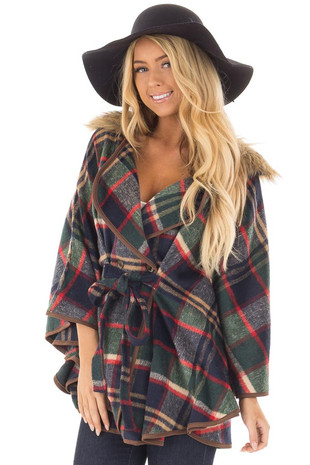 Green and Red Plaid Wing Sleeve Jacket with Faux Fur front closeup