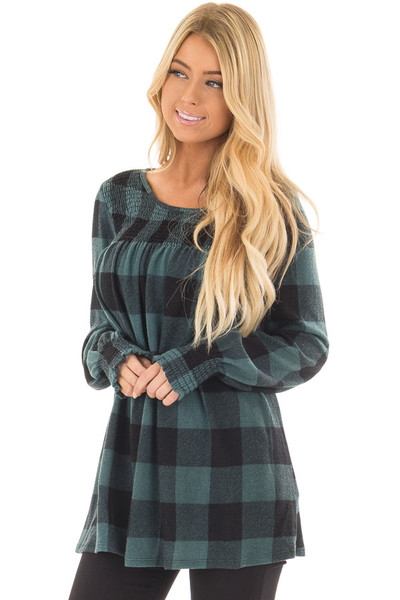 Dusty Blue and Black Plaid Smocked Top with Cuffed Sleeves front closeup