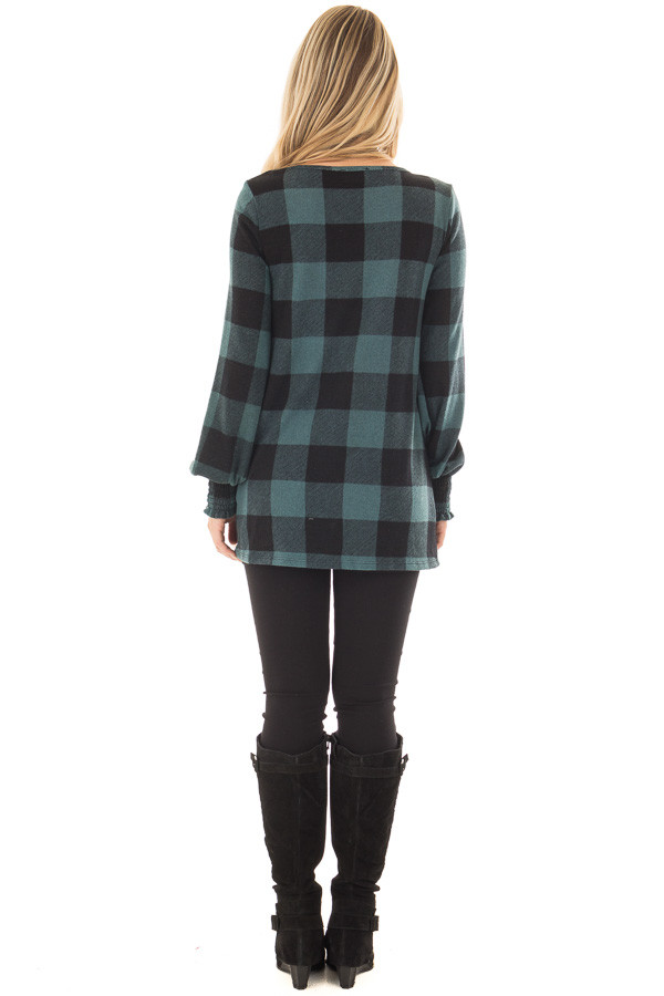 Dusty Blue and Black Plaid Smocked Top with Cuffed Sleeves back full body