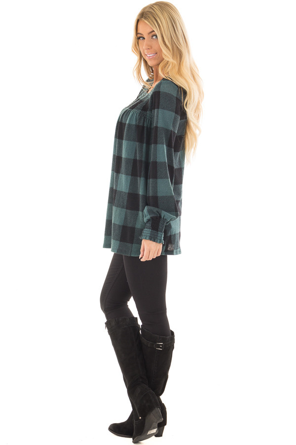 Dusty Blue and Black Plaid Smocked Top with Cuffed Sleeves side full body