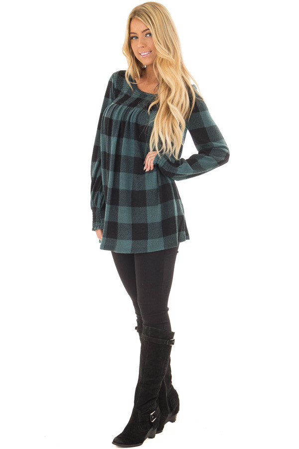 Dusty Blue and Black Plaid Smocked Top with Cuffed Sleeves front full body