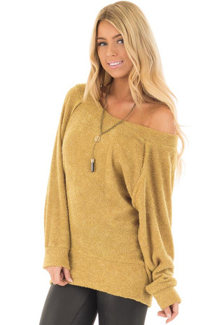 Mustard Fuzzy Top with Boat Neckline and Long Sleeves front closeup