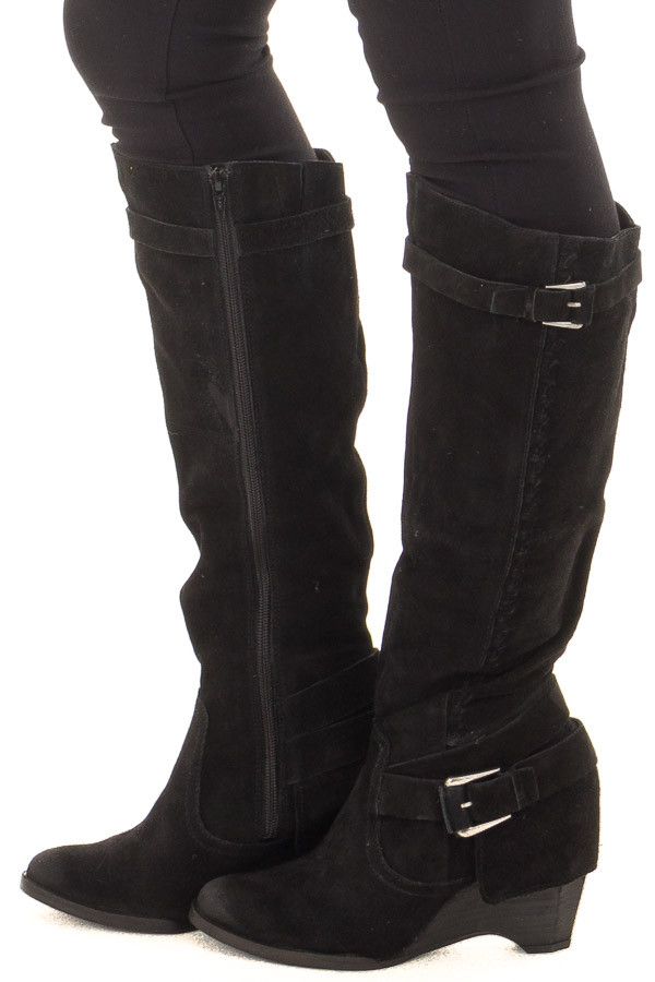 Black Suede Wedged Boot with Braided and Buckle Details side
