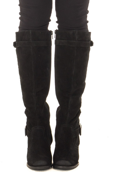 Black Suede Wedged Boot with Braided and Buckle Details front