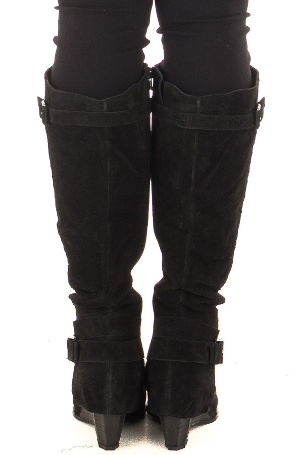 Black Suede Wedged Boot with Braided and Buckle Details back