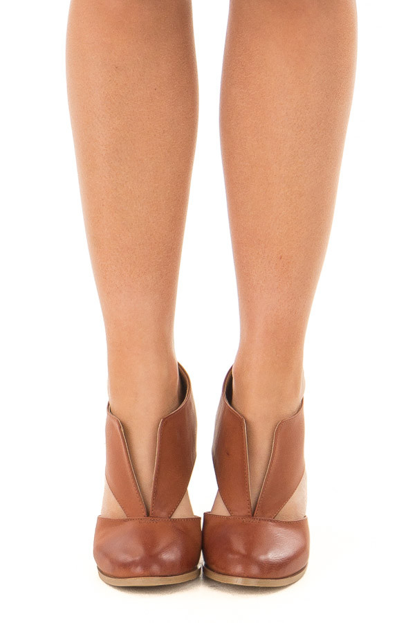 Tan Faux Leather Bootie with Cutout Details front